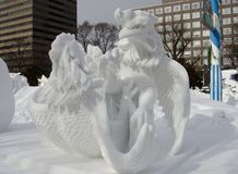 Gai Chon, Fighting Cock, Snow Sculpture Stock Images
