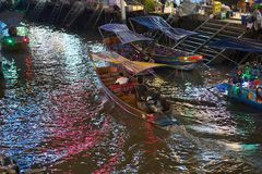 Thailand,Samut songkhram,30 Dec 2017,hired boat for travel night stock photo