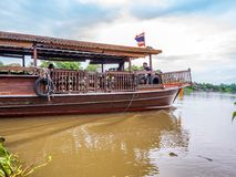 THAILAND, SAMUTSONGKHRAM - JUNE 17,2018:Traditional thai boat in the river near at Amphawa floating market the destination for tou Royalty Free Stock Images