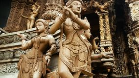 Thailand Sanctuary of Truth. Scene from Sanctuary of Truth Thailand Asia Slow PAN Motion of the building and carvings stock video
