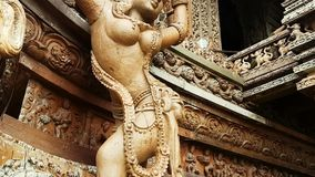 Thailand Sanctuary of Truth. Scene from Sanctuary of Truth Thailand Asia Slow PAN Motion of the building and carvings stock video footage
