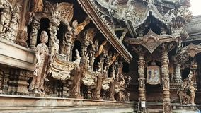 Thailand Sanctuary of Truth. Scene from Sanctuary of Truth Thailand Asia Slow PAN Motion of the building and carvings stock footage