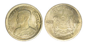 Thailand 10 satangmuntstuk, 1957 of B e geïsoleerde 2500 Royalty-vrije Stock Fotografie