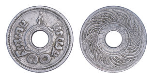 Thailand 10 satangmuntstuk, 1935 of B e geïsoleerde 2478 Stock Foto