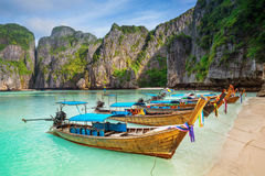 Thailand sea beach view round with steep limestone hills with ma Stock Images