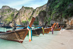 Thailand sea beach view round with steep limestone hills with ma Stock Photography