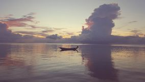 Thailand Sea Boat. Sunset at lonely place in Thailand Royalty Free Stock Photo