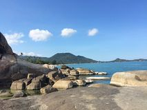 Thailand sea. Samui beach stones royalty free stock image