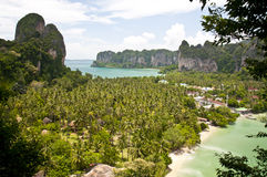 Thailand seascape. Tropical beach and palm trees in Krabi area (Thailand Stock Photography