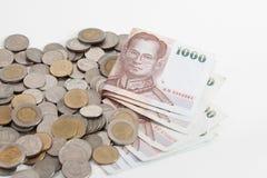 Thailand sedlar och mynt arkivfoto