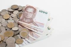 Thailand sedlar och mynt arkivfoton