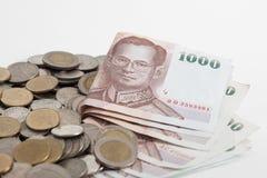 Thailand sedlar och mynt arkivbilder
