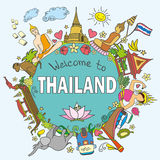Thailand . Set Thai color vector icons and symbols , vector ill Stock Photo