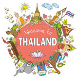 Thailand . Set Thai color vector icons and symbols , vector ill Royalty Free Stock Photos