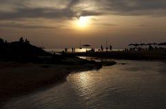Thailand solnedgång på stranden Fotografering för Bildbyråer