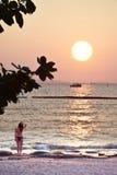 Thailand solnedgång pattaya Royaltyfri Fotografi
