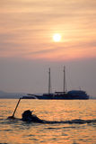 Thailand solnedgång pattaya Arkivbilder