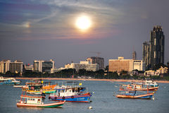 Thailand solnedgång pattaya Royaltyfria Foton