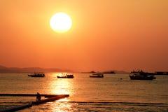 Thailand solnedgång pattaya Arkivfoto