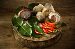 Thailand soup ingredients to cook low key light. Stock Photo