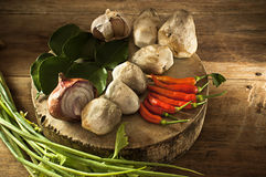 Thailand soup ingredients to cook low key light. Royalty Free Stock Photo
