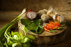 Thailand soup ingredients to cook low key light. Royalty Free Stock Photography