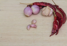 Thailand spices. Red Hot Chili Peppers Onions and Garlic Stock Photography