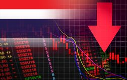 Thailand Stock Exchange market crisis red market price down chart fall Business and finance money crisis red negative drop in stock illustration