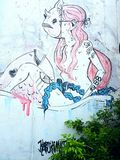 Thailand street art. On the wall in songkhla Royalty Free Stock Image