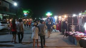 Thailand street view,night market bangpree stock footage