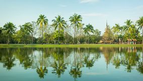 Thailand, Sukhothai - a park with a pond and palm trees on the shore Stock Photo