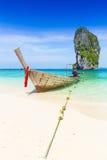 Thailand summer travel sea, Thai old wood boat at sea beach Krabi Phi Phi Island Phuket. Stock Photography
