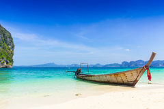 Thailand summer travel sea, Thai old wood boat at sea beach Krabi Phi Phi Island Phuket. stock photos