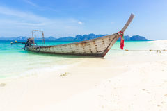 Thailand summer travel sea, Thai old wood boat at sea beach Krabi Phi Phi Island Phuket. Stock Image