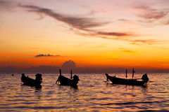 In thailand  sunrise boat  and sea kho tao ba Royalty Free Stock Images