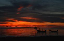 Thailand Sunset. Sunset as seen from a beach in Thailand Stock Photos
