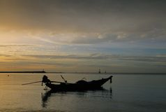 Thailand, sunset, boat. Sunset in Thailand beach. fisherman boat, sea, sky royalty free stock image