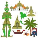 Thailand symbol, marble Temple Benchamabophit, Guardian Giant Yaksha, Buddhist stupa chedi, Traditional long-tail boat, Thai taxi Stock Photos