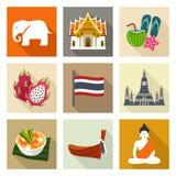 Thailand symbolsuppsättning stock illustrationer