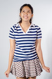Thailand teen girl happy. Happy Thailand teen girl model posing in a plaid skirt on white background Stock Photo