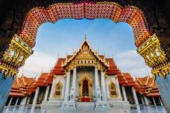 Thailand tempel (Wat Benchamabophit) Arkivfoto