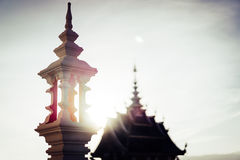 Thailand Temple Evening Sun. Royalty Free Stock Photos