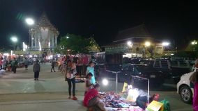 Thailand temple fairs at night stock footage