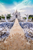 Thailand temple or grand white church Call Wat Rong Khun,at Chia Stock Photography