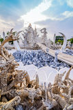 Thailand temple or grand white church Call Wat Rong Khun. Royalty Free Stock Photography