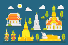 Thailand temple infographic elements set Royalty Free Stock Photos