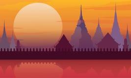 Thailand temple landscape architecture poster vector illustration. Thailand temple landscape architecture poster vector stock illustration