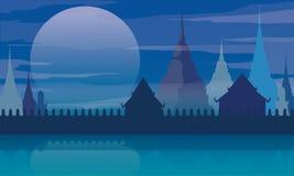 Thailand temple landscape architecture poster vector illustration Stock Photos