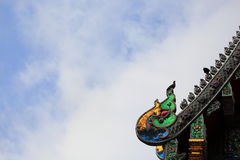 Thailand Temple Roof with blue sky Stock Photo