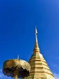 Thailand Temple Rooftop. Closeup Of A Golden Thailand Temple Rooftop Stock Image